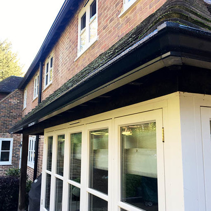 Newly Installed Black Aluminium Guttering
