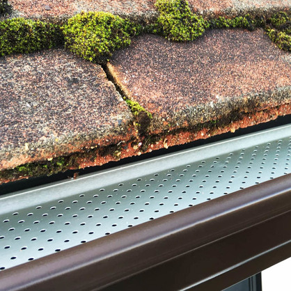 Brown Aluminium Guttering with Leaf Guard