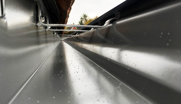 Inside a recently extruded aluminium gutter.