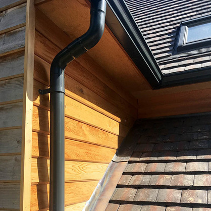 Black Aluminium Guttering with Downpipe